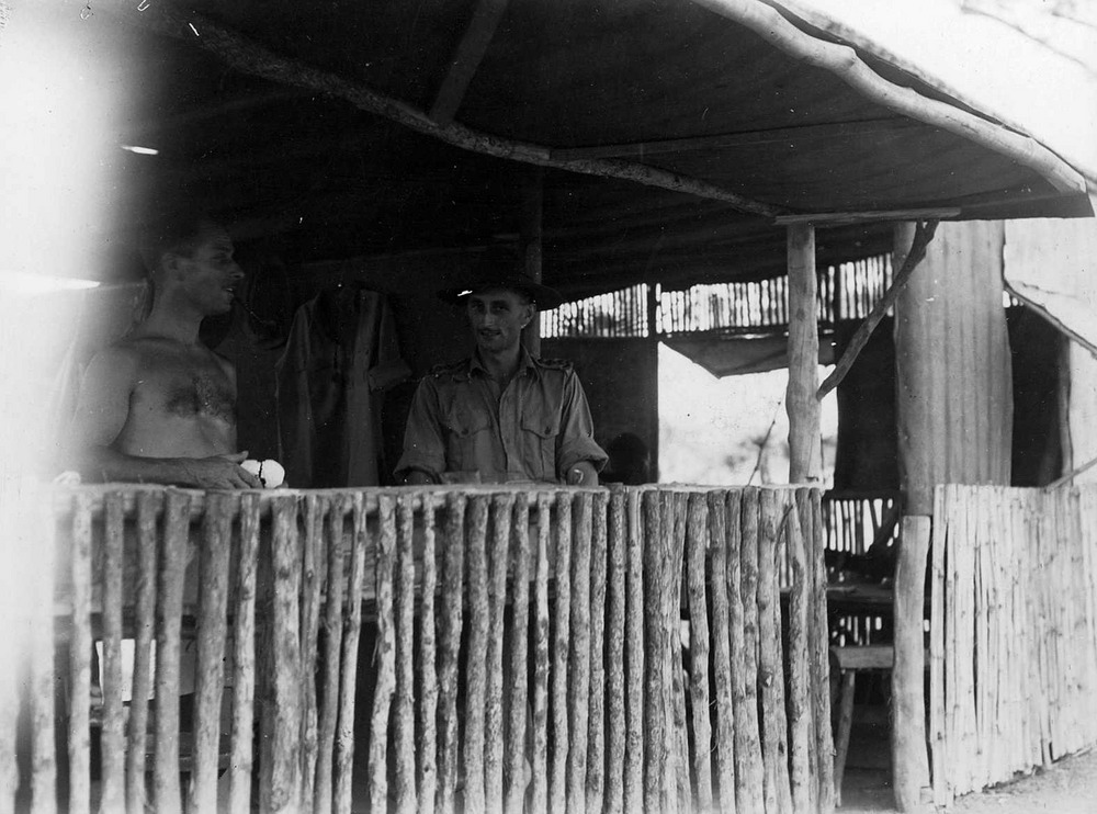 Dental clinic showing staff Sgt. I. Masser, of Sydney, and Captain Lin Bedkober, of Forbes, N.S.W. 212 Field Ambulance